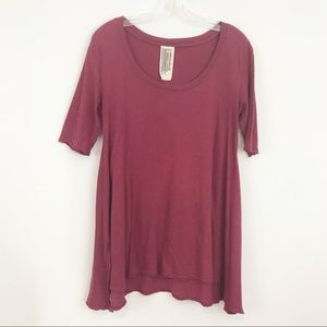 Free People Tunic Top Size Small Red Scoop Neck